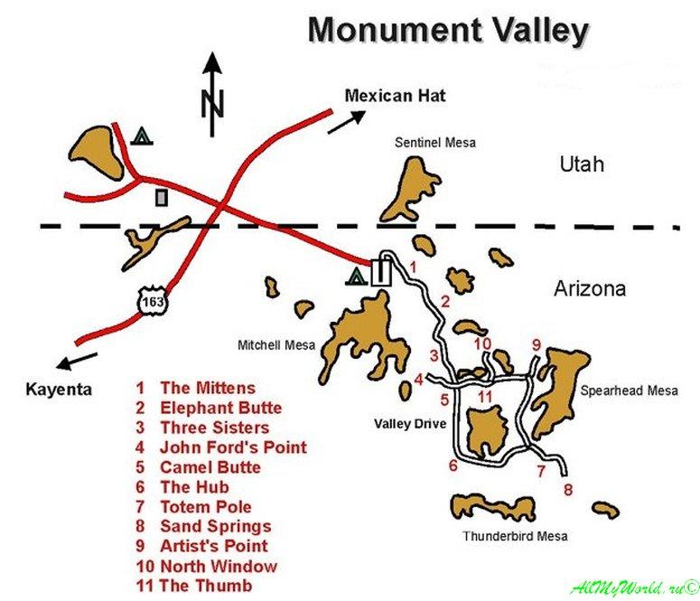 Парк Долина Монументов (Monument Valley) в США фото