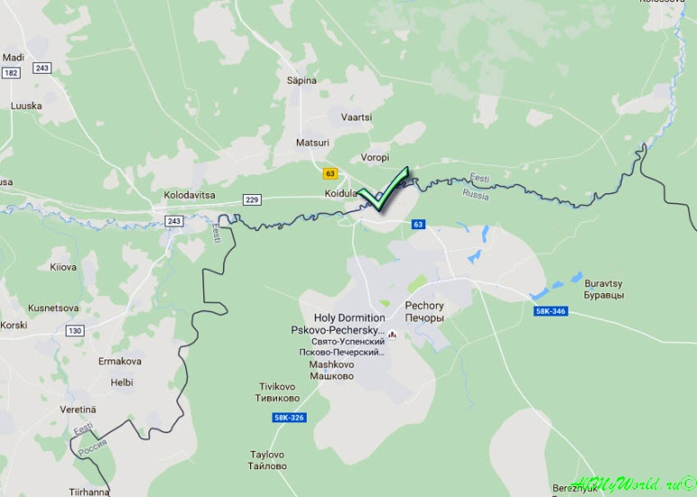 """Российско-эстонская граница, пункт пропуска """"Куничина Гора - Койдула"""""""