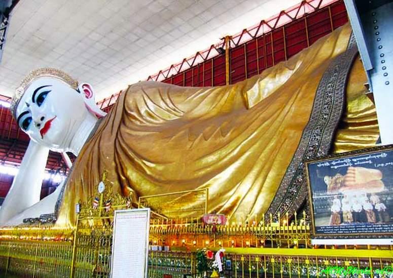 Город Янгон: достопримечательности столицы Мьянмы фото - Статуя лежащего Будды (Чаутаджи)
