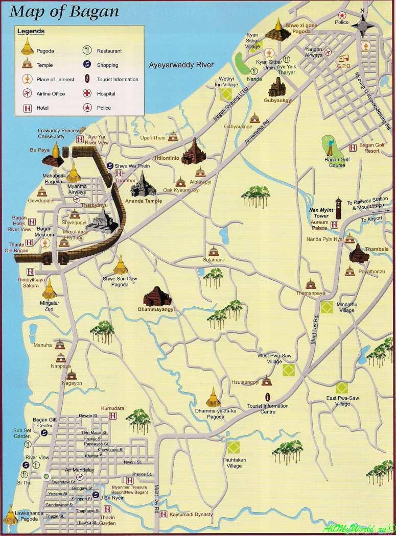 Мьянма, карта города Баган