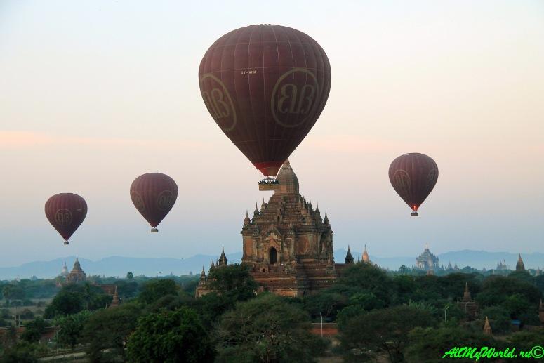 Мьянма, Баган, воздушные шары фото Balloons over Bagan